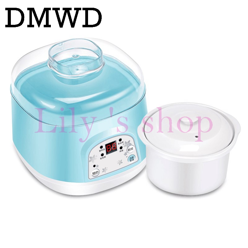 DMWD Electric Intelligent Slow Cookers Mini timing Water Stewing soup Porridge pots multifunctional Ceramic Whiteware Liner 0.7L