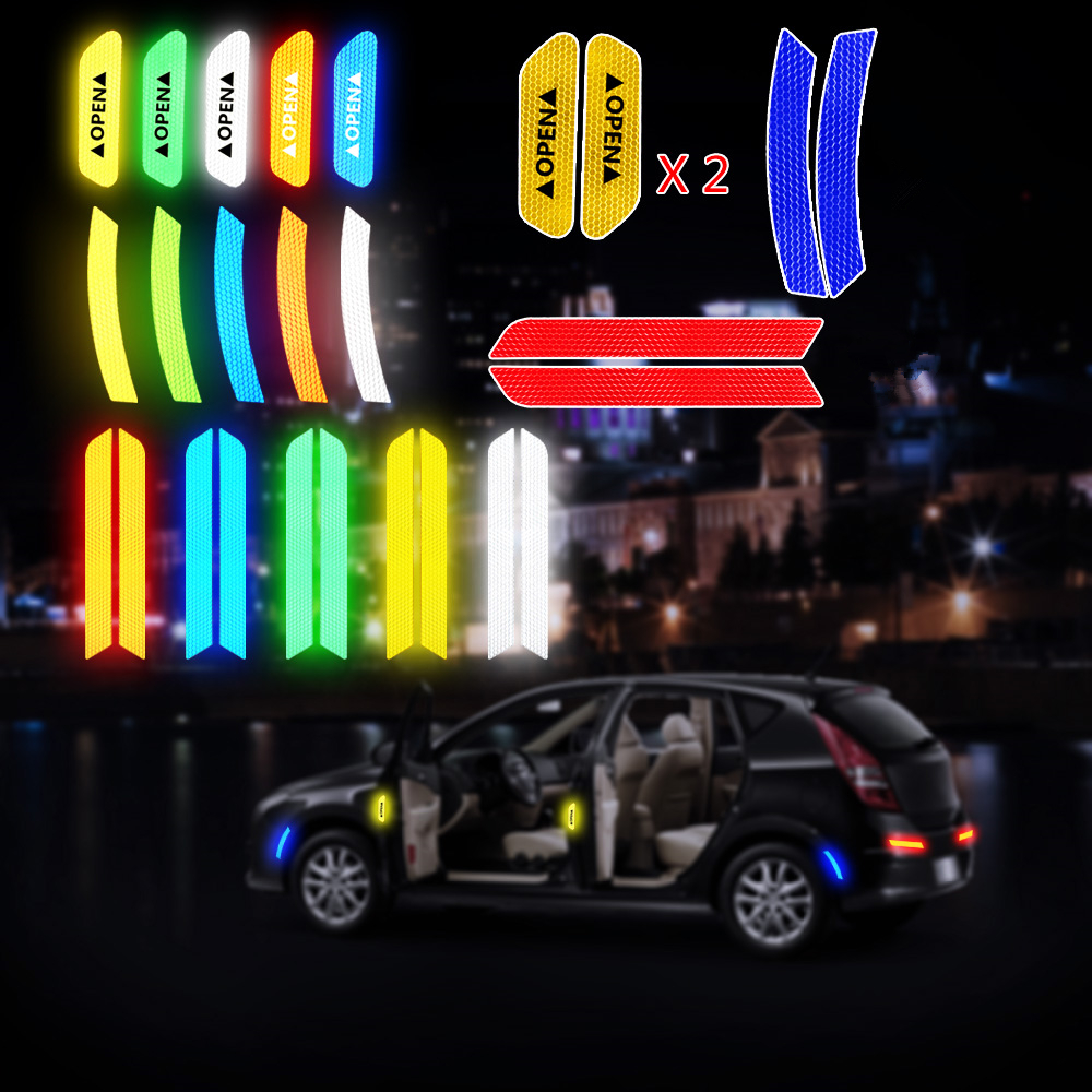 Auto Warning Mark Reflective Strips Tail Rear Tape Driving Safety Car Trunk Wheel Eyebrow OPEN Door Stickers