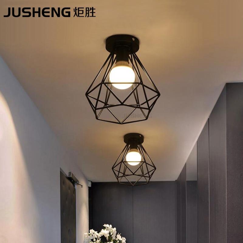 Indoor Modern iron Nordic creative black led ceiling lamp with E27 Socket For restaurant balcony corridor hall lighting