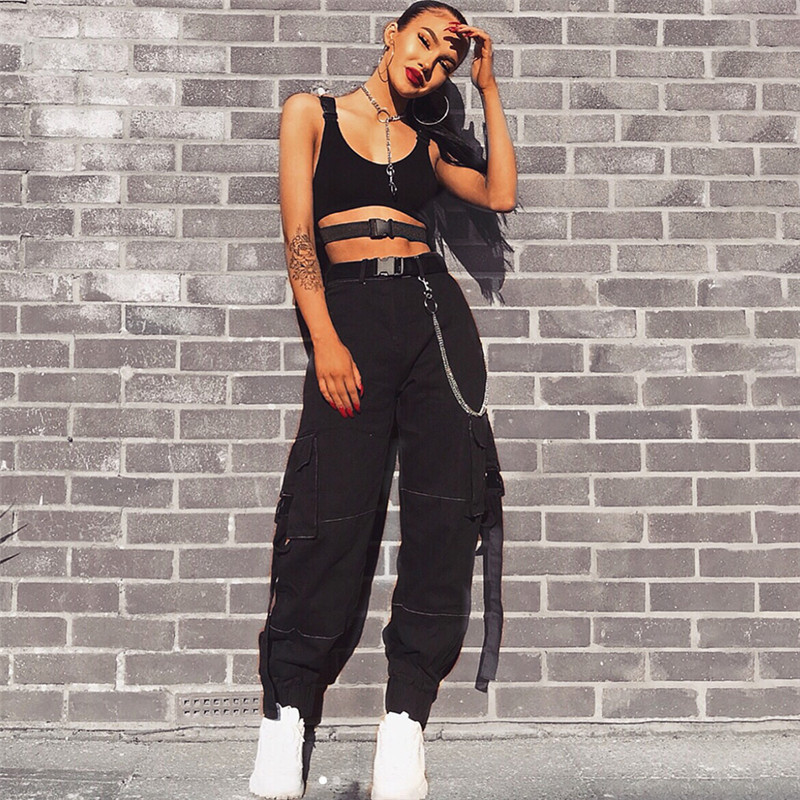 Street Style Black Woman: 2018 New Adjustable Buckle Ribbons Harem Pants Casual