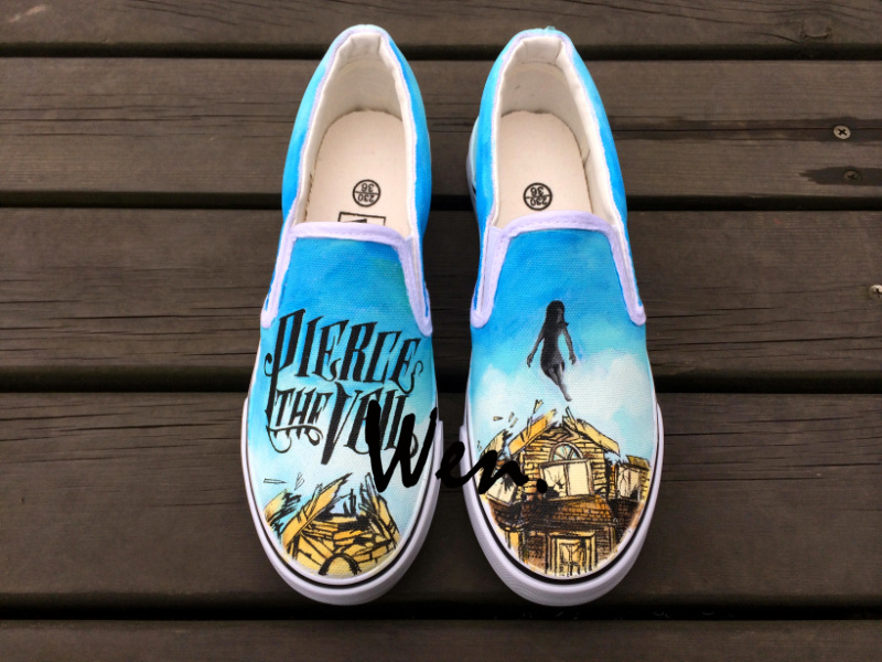 Wen Pierce the Veil Design Custom Hand Painted Shoes for Man Woman White Slip On Canvas Sneakers