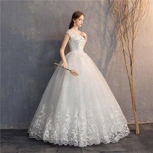 Image 4 - Ezkuntza 2019 ダイヤモンドのレースのウェディングドレス o ネックビーズボールガウンシンプルな格安のウェディングドレス王女のウェディングドレス