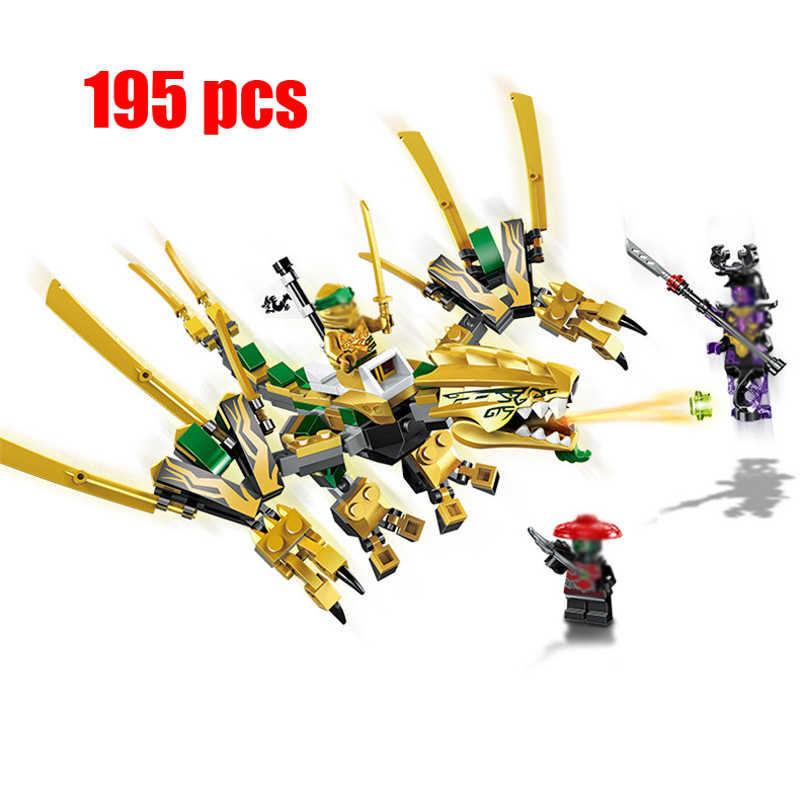 195 pcs Golden Dragon Ninjagos Kit Modelo de Blocos de Construção Compatíveis com Legoingly Ninjagoed figuras Brinquedos para As Crianças