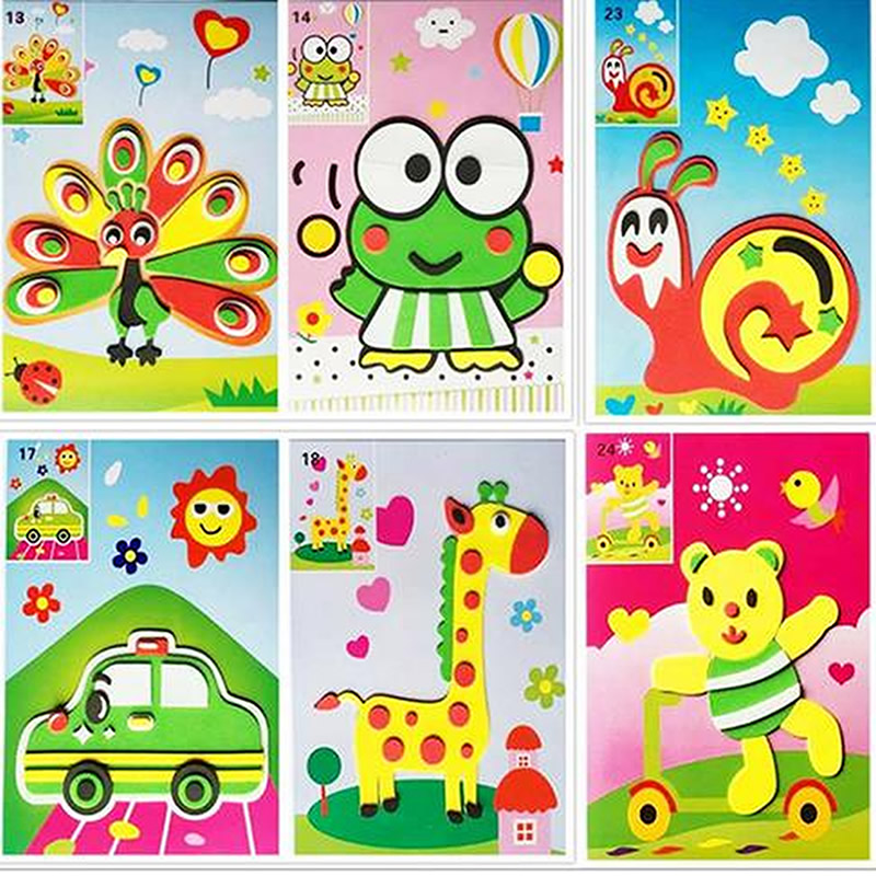 12pcs/set DIY 3D EVA Sticker Handmade Foam Puzzle Painting Scratch Paper Sticker Drawing Template Eva Crafts Toys For KIds