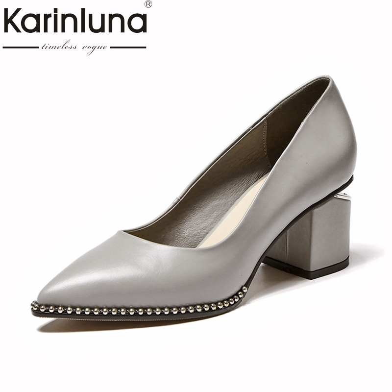KarinLuna Genuine Leather Big Size 31-40 Elegant Chunky Heels Pointed Toe slip-on Women Shoes Woman Black Office Lady Date Pumps new stylish designer lady high heels shoes pointed toe concise slip on office career shoes woman string metal bead shoe edge