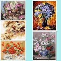 Imagen sin marco en la pared acrílico pintura al óleo por número dibujo por números pintura de regalo único por números flores DY114