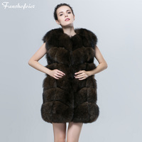 Fanshefeier warm Female fur coat Real Blue Fox animal fur vest round neckline For women sleeveless Lmitate Sable Color coat