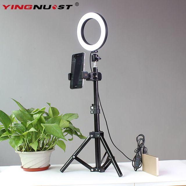 """Anel de Luz LEVOU 6 """"64 16 cm 3200-5600 K LEDs Lâmpada Anel de Iluminação Fotográfica Selfie Com Tripé suporte do telefone Plugue USB Photo Studio"""