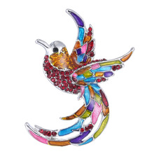 Crystal Colorful Bird Brooch Pins