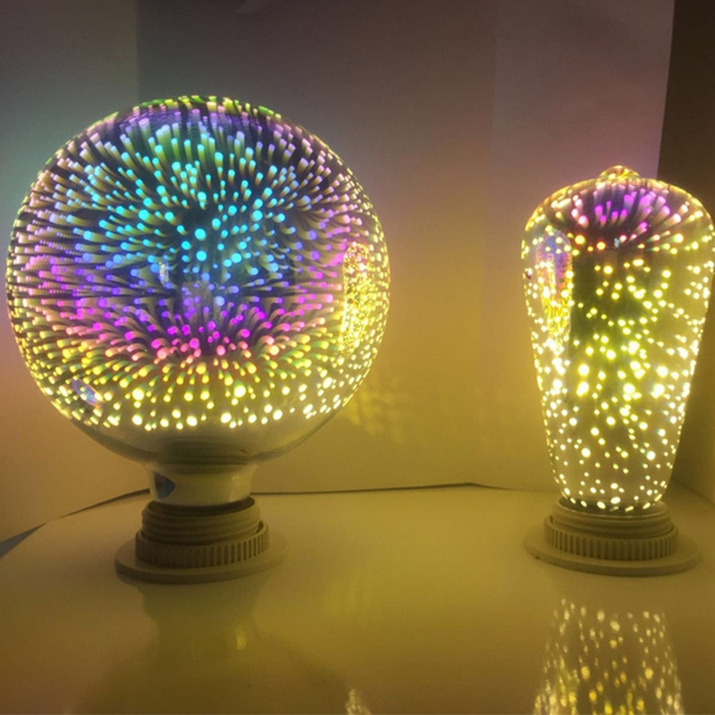 2018 High quality E27 G95 Colourful 3D Star Shine Decoration Multiple Reflection Alluminum Plated Glass beautiful