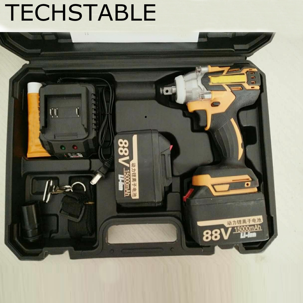 TECHSTABLE 88v 2 lithium battery Cordless electric wrench impact wrench rechargeable woodworking electric tools wosai 20v lithium battery max torque 380n m 4 0ah brushless electric impact wrench diy cordless drill cordless wrench