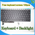 "Brand New RU Russian keyboard+Backlight Backlit+100pcs keyboard screws For MacBook Pro 15.4"" A1286 2009-2012 Years"