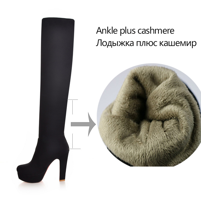 Image 4 - QUTAA 2020 New Women Boots Sexy Fashion Over the Knee Boots Sexy Thin Square Heel Boot Platform Woman Shoes Black size 34 43-in Over-the-Knee Boots from Shoes