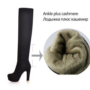 Image 5 - Qutaa 2020 novas botas femininas sexy moda sobre o joelho botas sexy salto quadrado fino boot plataforma mulher sapatos preto tamanho 34 43