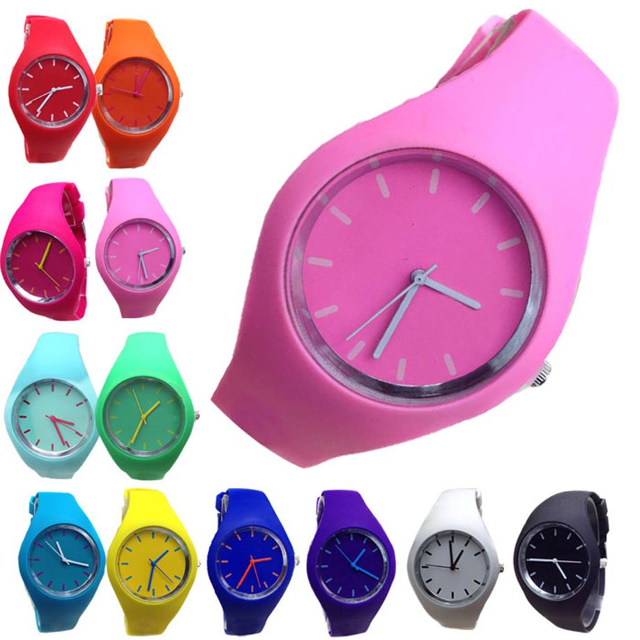Fashion Wristwatches Relogio Feminino New Geneva Silicone Watches Fashion Sports Outdoor Unisex Candy-Color Man Woman Watch Saat