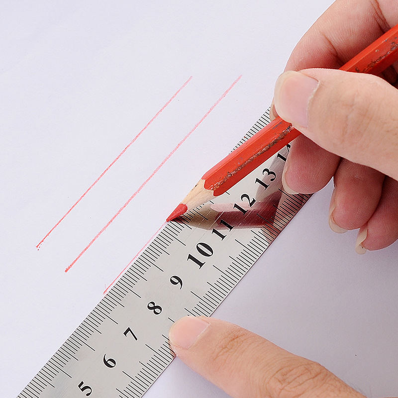 2018 New 15cm Metal Straight Ruler Precision Double Sided Measuring Tool