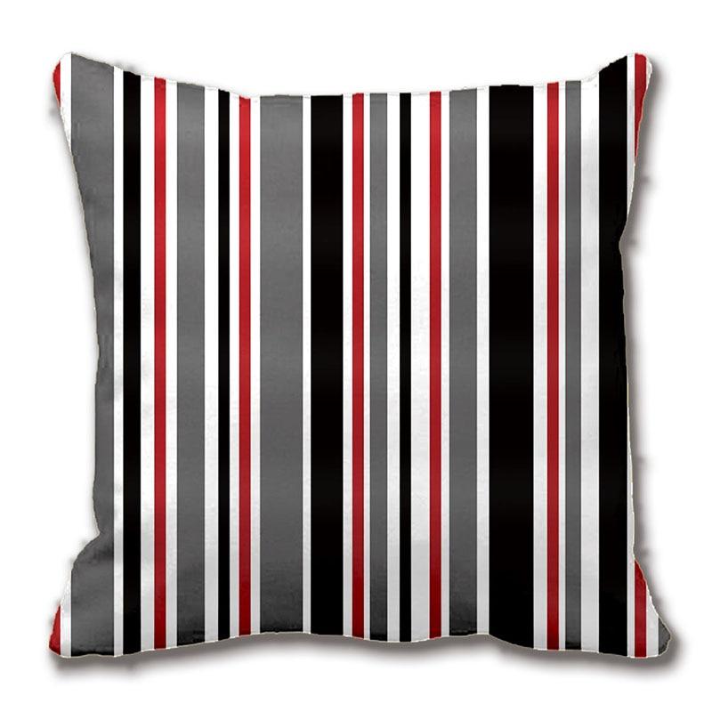 black grey red white stripes throw pillow case decorative cushion cover pillowcase - Black And White Striped Chair
