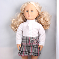 "Fahion White Long Sleeve Shirt +Short Grid Skirts American Girl Doll Clothes Set Fit 18 "" American Girl Doll  AG632"