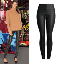 8253ef9af912a Skinny PU Leather Pants with Front Back Zipper Women Trousers Slim Stretch  Thin Black Faux Leather Pencil Pants Pantalone