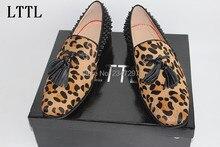 LTTL Herbst Flut Leopardenmuster Ricets Quaste Männer Wohnungen Handgefertigte High Qualität Müßiggänger Männer Business Kleid Schuhe Partei hombre Schuhe