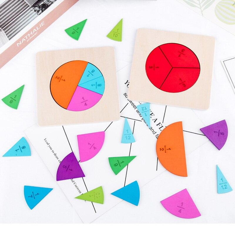 In età prescolare Educazione Matematica Giocattolo di Legno Montessori Matematica Frazione Circolare Consiglio Division Sussidi didattici per Bambini Strumento di Apprendimento