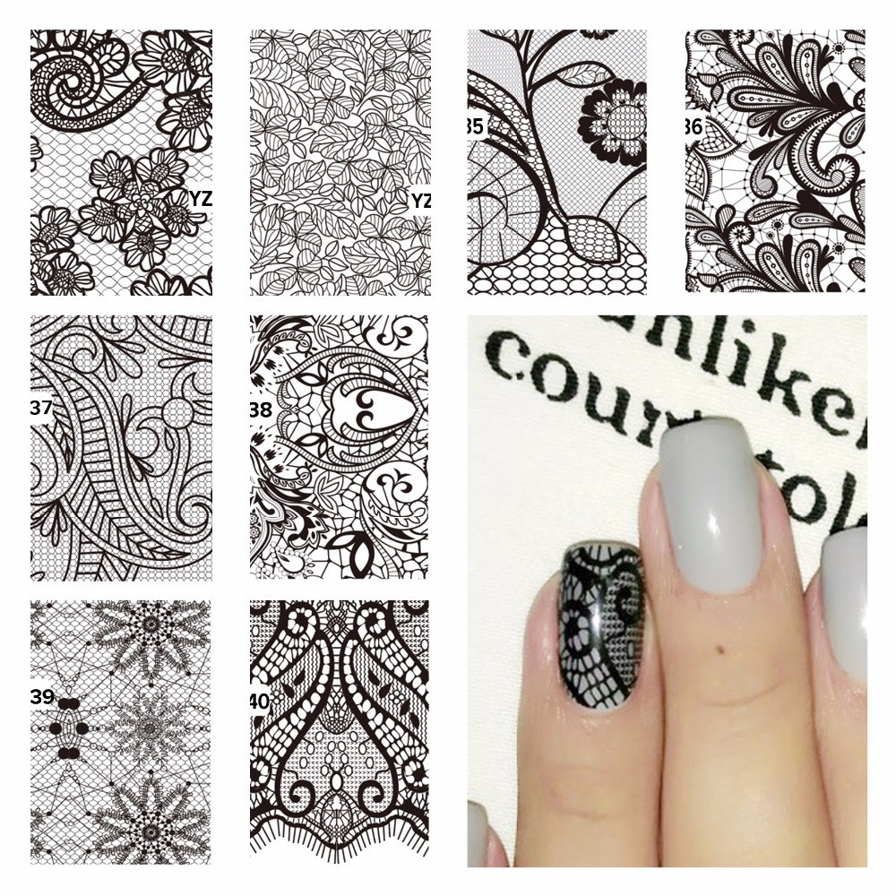 YZWLE 1 Pc Nail Art Water Decals Black Lace Flower