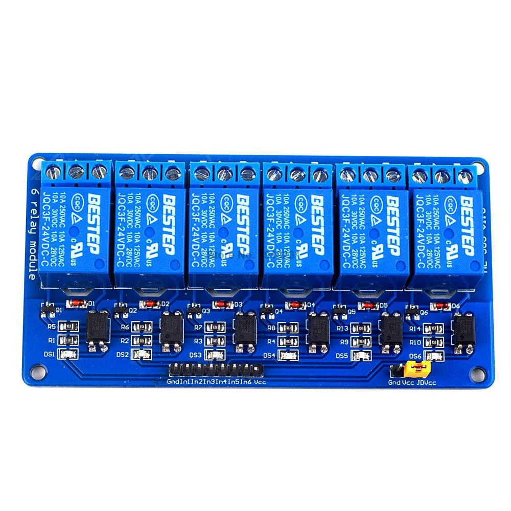 1PCS 6 Channel 24V Relay Module For Arduino PIC ARM DSP AVR 5v 4 channel relay module for arduino pic arm dsp avr msp430 blue