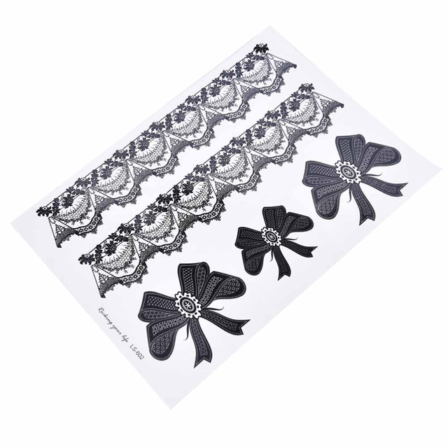 1 Pcs Black Waterproof Temporary Tattoo Sticker on Body Leg Water Transfer Sexy Lace Stocking Fake Flash Tattoo for Girl Women 4