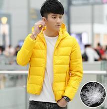 Красный желтый черный тонкий 1 капюшоном тонкий теплый коротких вниз куртка мужчины пальто утка пуховик мужские зимние куртки и пальто 5XL