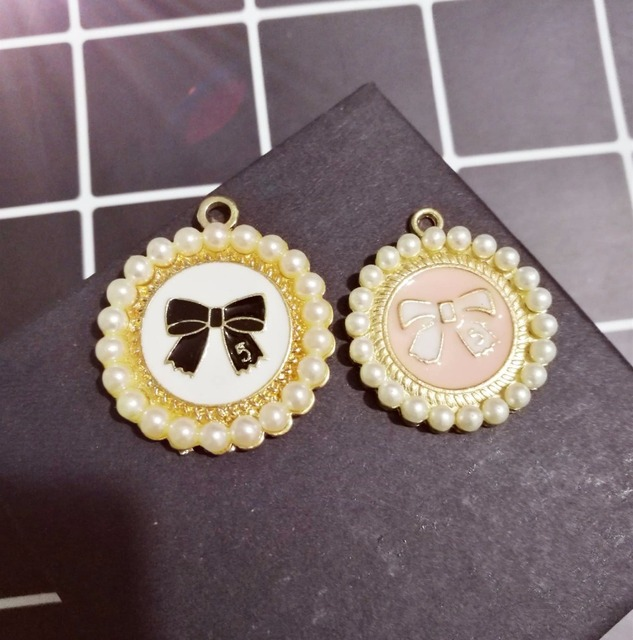 10pcs per lot Pearl Round Bowknot Pendant Cell Phone Case DIY Charms Alloy  Decoration bb9e47826a1a