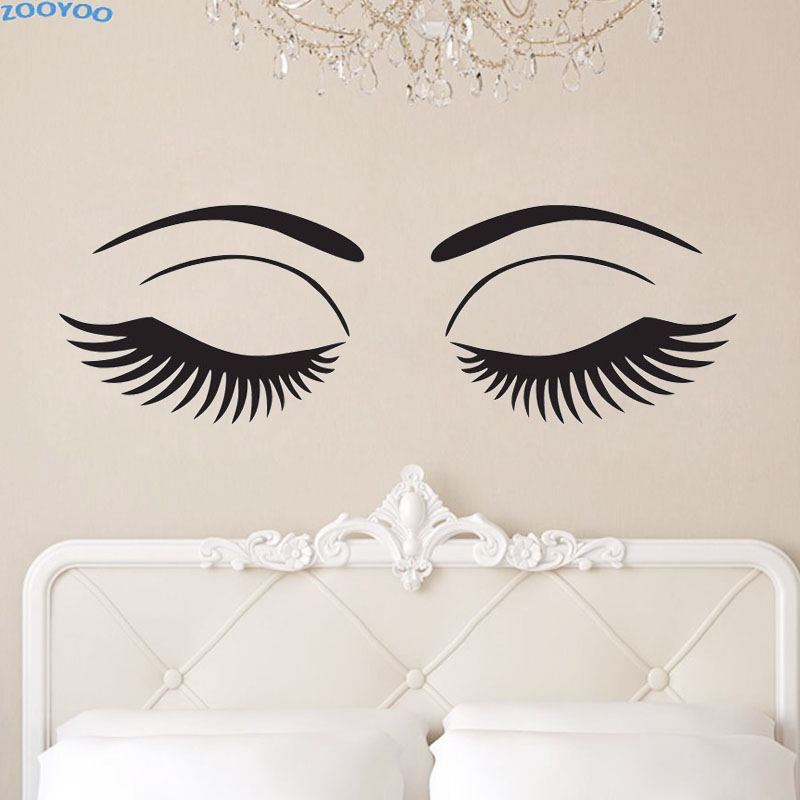ZOOYOO Beautiful Eyes Wall Decals Sexy Girl Eyelashes ...