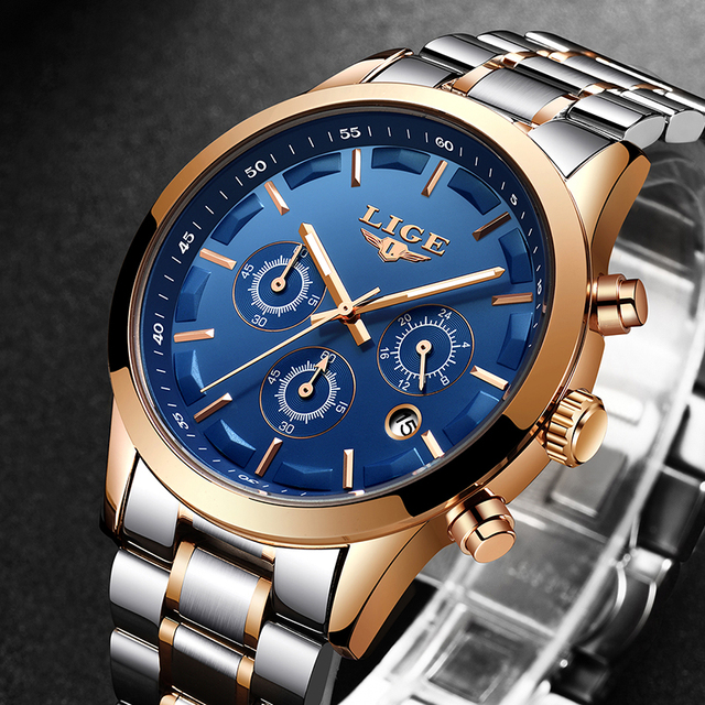Relogio Masculino LIGE Men Sport Watch Chronograph Full Steel Strap Quartz Army Military Watches Clock Men Top Brand Luxury Male
