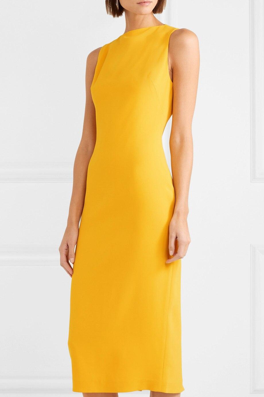 Kadın Giyim'ten Elbiseler'de 2019 Yaz Yeni Varış Zarif Bayan Karışımları Şifon Elbise Katı Sarı Kolsuz Vestidos Alt Bölünmüş O Boyun Kalem Elbiseler'da  Grup 1