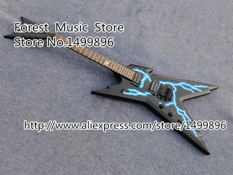Vendita caldo mancino dimebag dean razorback chitarra elettrica cina oem fulmine graphic top guitarra