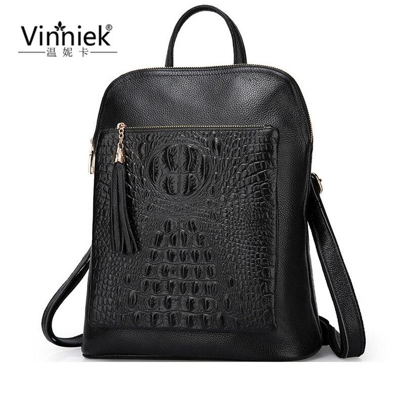Alligator Genuine Leather Backpack Vintage Rucksack Women School Bags For Teenagers Real Leather Tassel Bagpack Laptop
