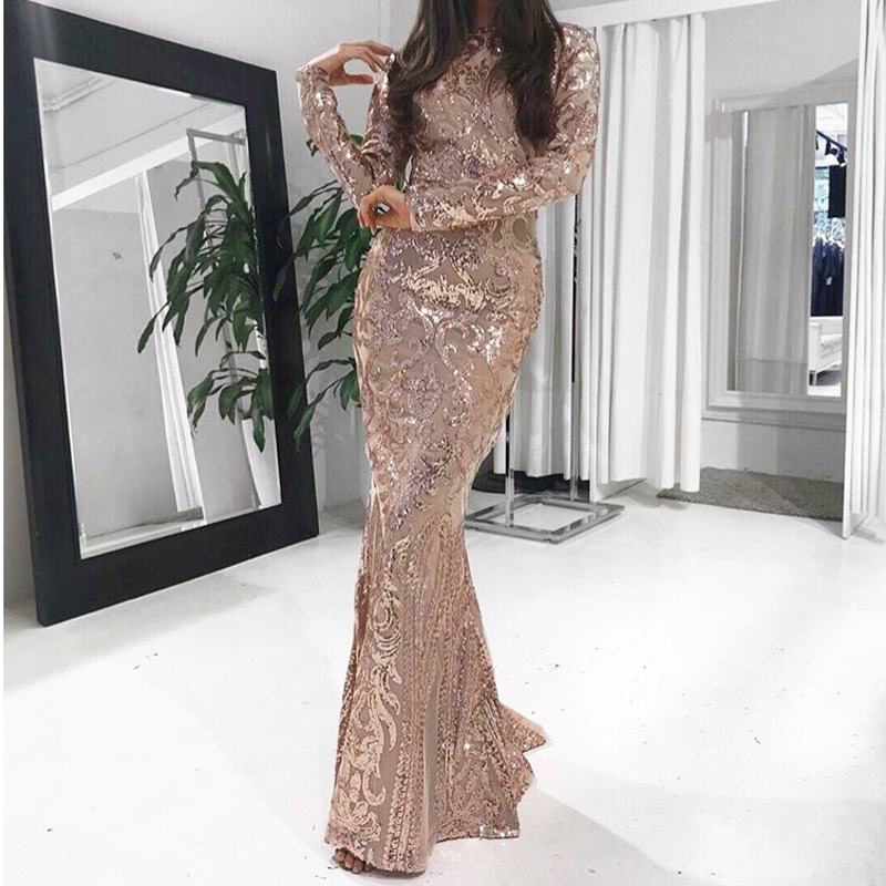 Sequined Maxi Dress Long Sleeved O Neck Gold Black Stretch Party Dress Floor Length Evening Party Dresses Gowns