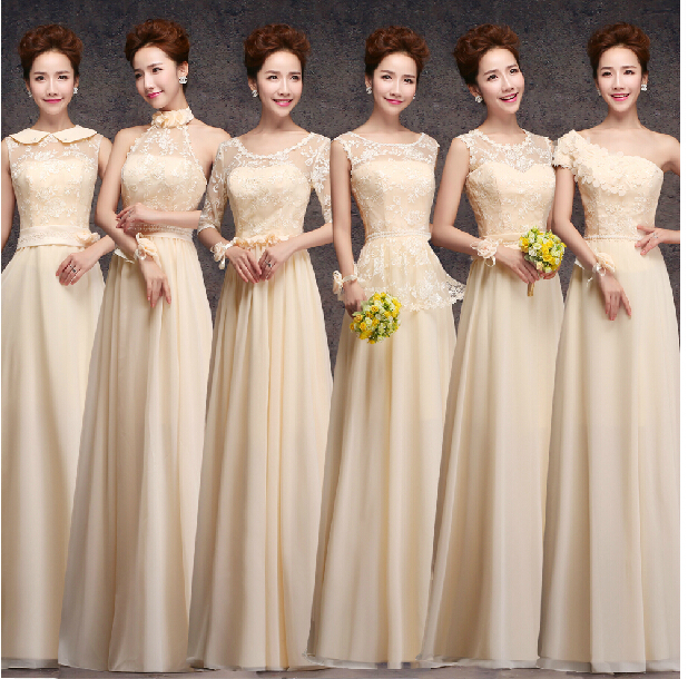 M A 2017 Champagne Color Long Design Bridesmaid Dress Evening The Bride Married Sisters In Dresses From Weddings Events