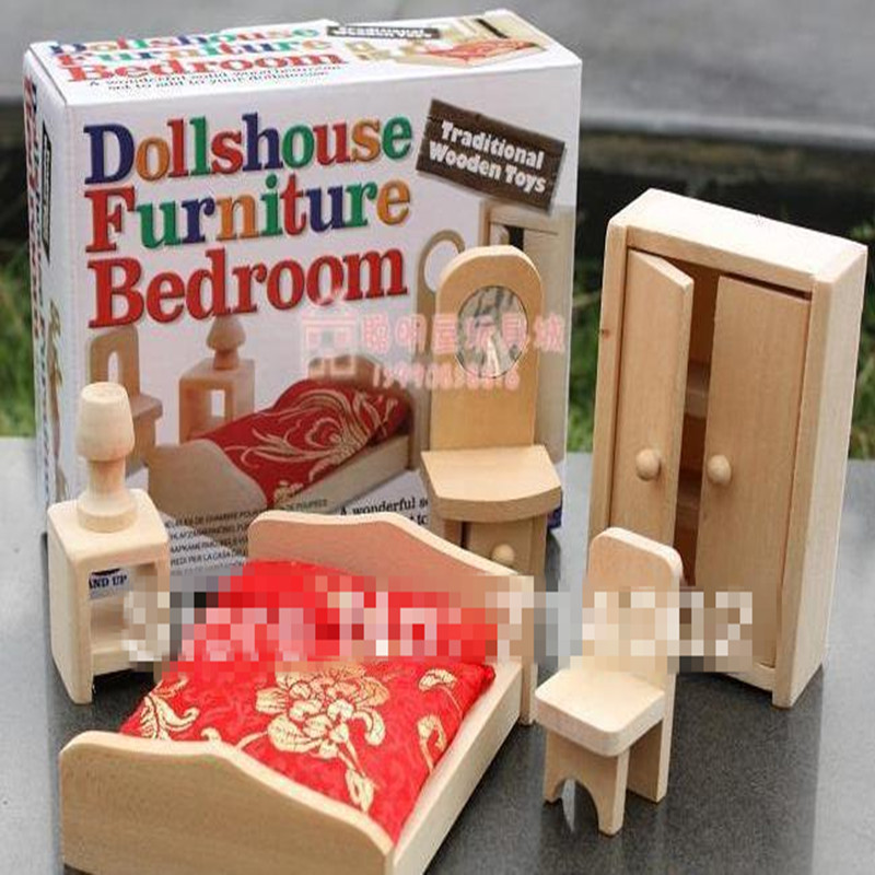 Bedroom Furniture Miniature Wooden Dollhouse Furniture Sets Toys For Children Christmas Gifts In