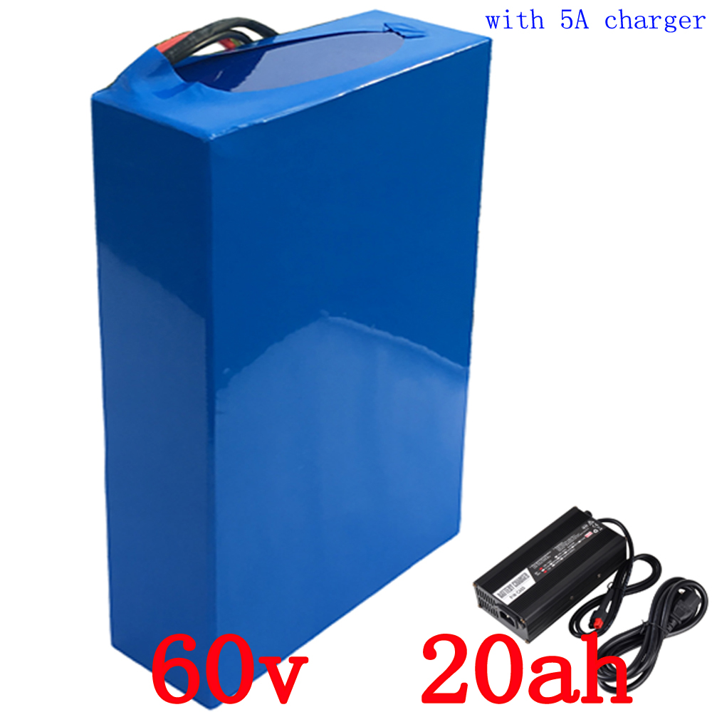 US EU no tax Lithium Rechargeable Battery 60V 20Ah 2000w Electric Bike Battery With 50A BMS and 67.5V 5A Charger free shipping us eu no tax 48v 25ah 2000w lithium battery pack with 5a charger built in 50a bms electric bicycle battery 48v free shipping