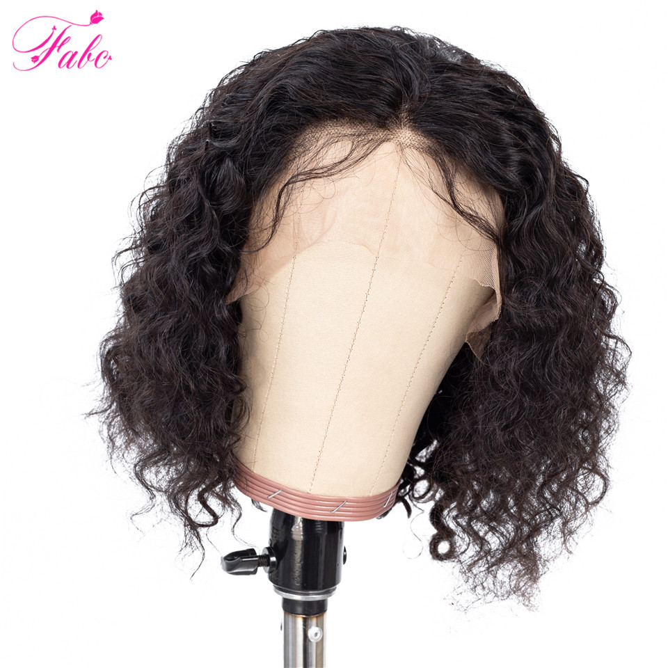 FABC Hair Curly Human Hair Wig Peruvian Lace Frontal Wigs Remy Hair 13x6 Short Bob Lace