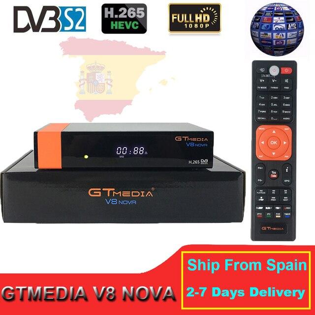 Genuine Freesat V8 Nova DVB-S2 Satellite Receiver same as V9 Super Full HD 1080P H.265 With 1-Year 7Lines Europe Spain Cline