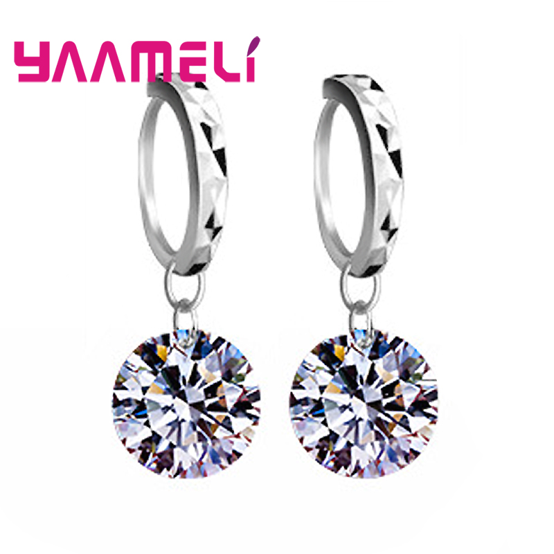 Big Discount Genuine 925 Sterling Silver 8 Colors Shiny Cubic Zirconia Dangle Earrings Crystal Jewelry For WOmen Ladies