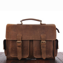YISHEN Vintage Crazy Horse Genuine Leather Men Messenger Bags Business Document Bags Retro Male Briefcase Causal Handbags MS3851