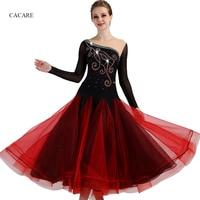 2018 NEW Customized Rhinestones Ballroom Dance Competition Dresses Standard Dance Dresses Ballroom Dress Long Sleeve D0972 Red