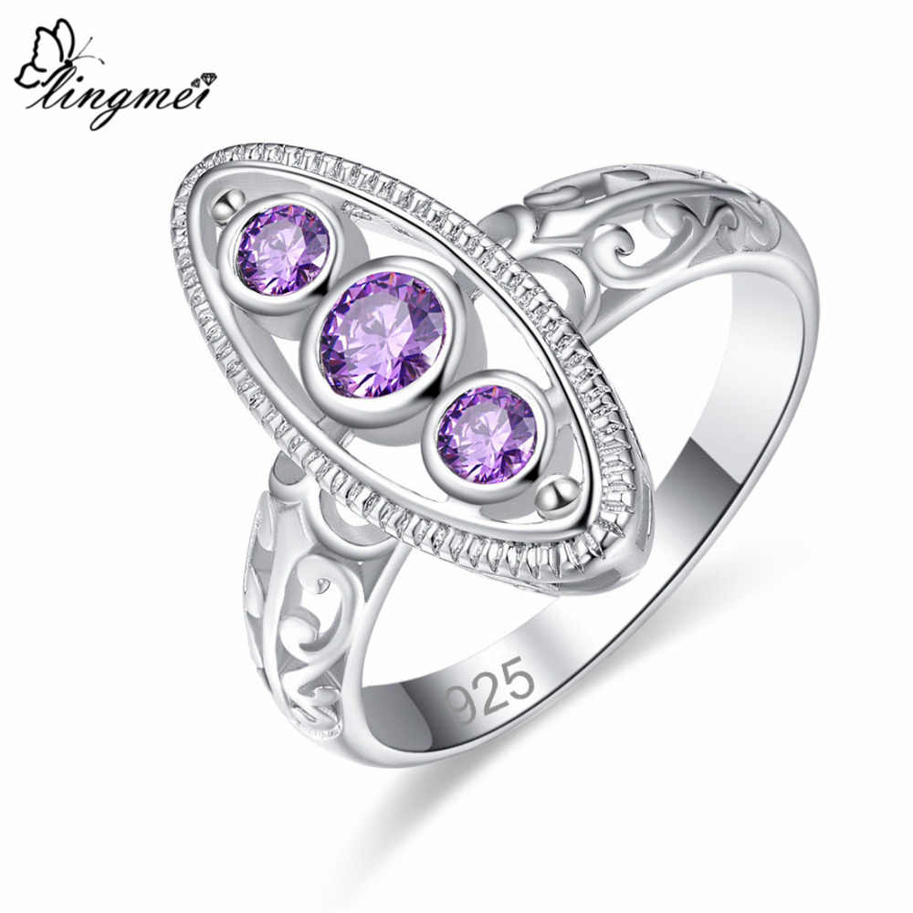 lingmei 2018 New Comes Round Purple & Pink White CZ Silver Color Ring Size 6 7 8 9 Women Wedding Fashion Jewelry Wholesale Gift