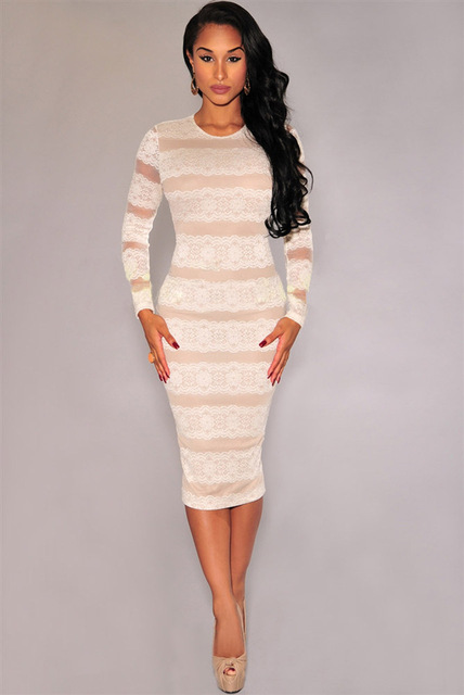 New 2015 fashion women white lace dress long sleeve O neck bodycon midi dress  sexy night 2e0f129ef676