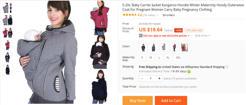 3f8c769fe Dropwow 2 In1 Kangaroo Baby Carrier Jackets Farther With Nursing Bag ...
