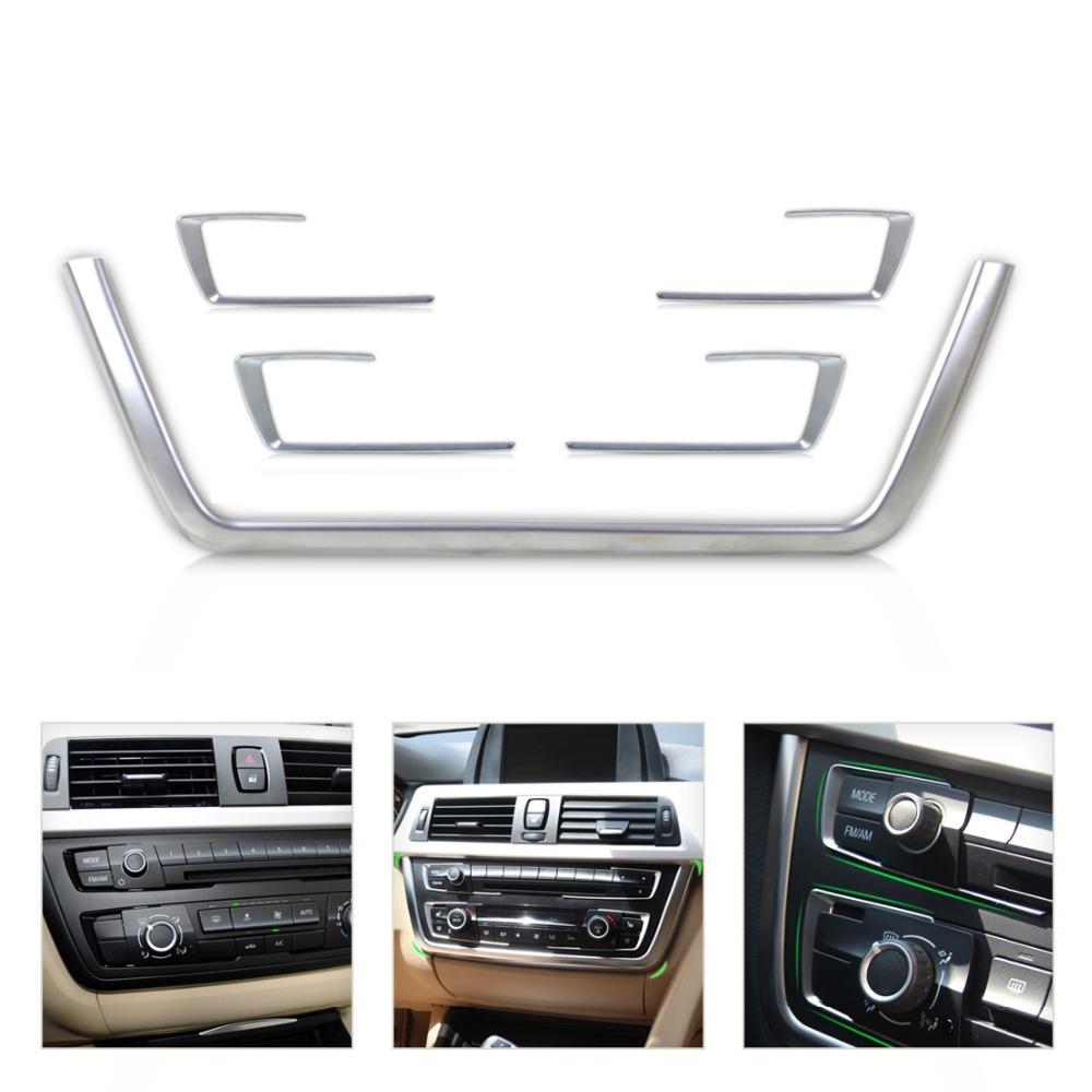 DWCX 5Pcs Chrome Front Dashboard Center Console Cover Trim kits for 2013-2015 BMW 3 4 Series F30 F31 F32 F34 F36 316 318 320 420 car front rear logo decoration cover ring trim hood emblem ring for 2013 2016 bmw 3 series 320li 328li 316 bmw 4 series m3 m4