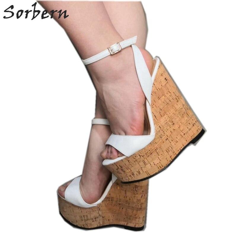 Sorbern/белые босоножки на высоком каблуке; Летние туфли с ремешком на щиколотке; Босоножки на платформе; Женские босоножки на танкетке с ремеш