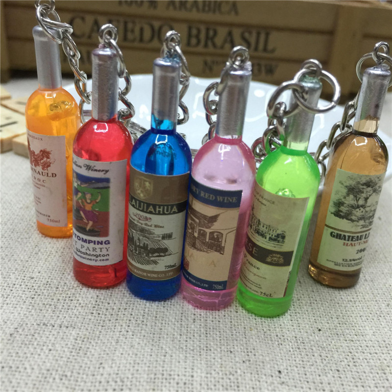 Cute Best Gift Resin Wine Bottle Keychain Assorted Color For Women Men Car Bag Keyring Accessions 5pcs